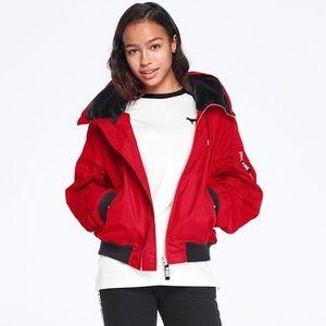victoria secret pink flight jacket hooded Sz M
